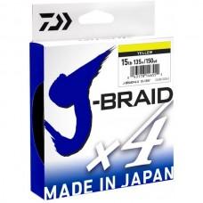 Плетеный шнур Daiwa J-Braid X4 Yellow  0.10mm-0.17mm-135m